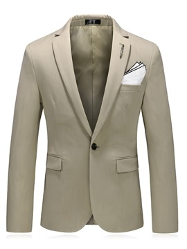 Ericdress Plain Notched Lapel One Button Slim Men's Jacket
