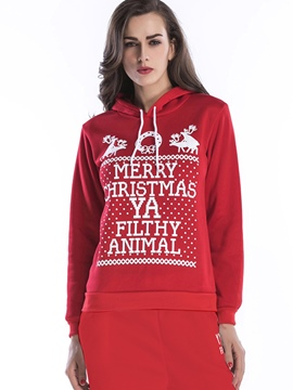 Ericdress Christmas Letter Print Cool Hoodie