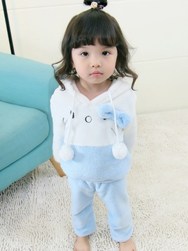 Ericdress Hello Kitty Model Color Block Pullover Baby Girl's Long Sleeve & Pants Outfit
