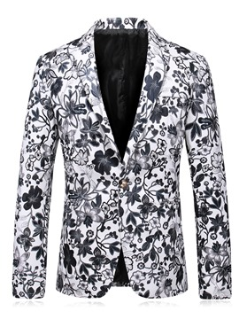 Ericdress Color Block Print Notched Lapel Vogue Slim Men's Jacket
