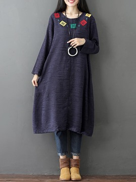 Ericdress Embroidery Patchwork Plain Casual Dress