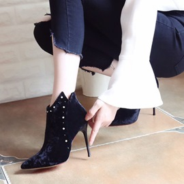 Ericdress Chic Rivet Pointed Toe Stiletto Heel Boots