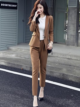 Ericdress Plain Blazer and Ankle Length Pants Women's Suit