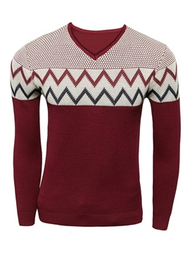 Ericdress Color Block V-Neck Vogue Slim Men's Pullover Sweater