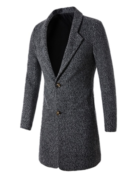 Ericdress Plain Notched Lapel Slim Men's Woolen Coat