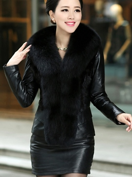 Ericdress Thick Fur Short PU Jacket
