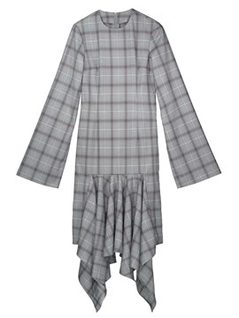 Ericdress Flare Sleeve Plaid Asymmetrical Casual Dress
