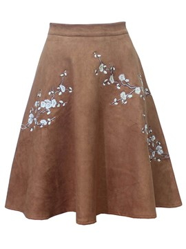 Ericdress Expansion Suede Embroidery Women's Skirt