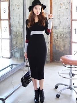 Ericdress V-Neck Color Block Long Sleeves Sweater Dress