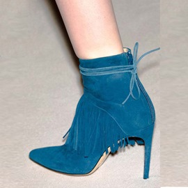 Ericdress Blue Tassel Lace-Up High Heel Boots