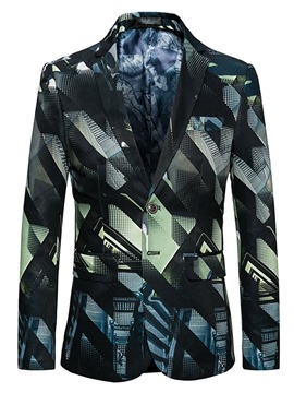 Ericdress Color Block Notched Lapel Single-Breasted Vogue Slim Men's Jacket