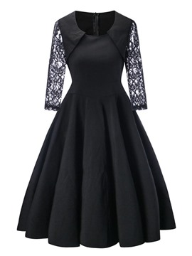 Ericdress Lace Patchwork Pleated 3/4 Length Sleeves A Line Dress