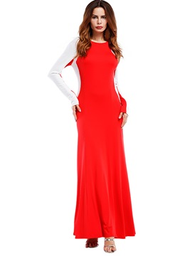Ericdress Color Block Fall Long Sleeve Maxi Dress