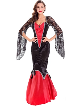 Ericdress Devil Cosplay Halloween Costume Mermaid Lace Patchwork Maxi Dress