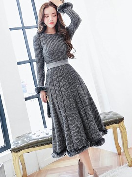 Ericdress Pullover and Mid-Calf Expansion Skirt Women's Knit Skirt Suit