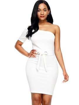 Ericdress One Shoulder Plain Belt Bodycon Dress