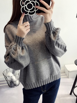 Ericdress Turtleneck Plain Lantern Sleeve Sweater