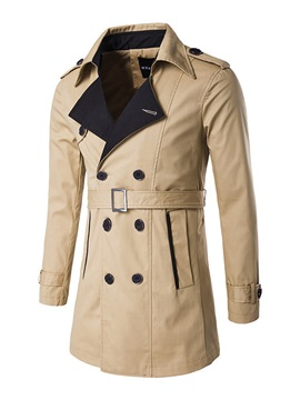 Ericdress Plain Lapel Double-Breasted Slim Men's Trench Coat
