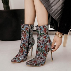 Ericdress Fashion Rhinestone Floral High Heel Boots