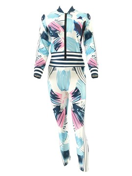 Ericdress Print Zipper Jaket and Ankle Length Pants Women's Suit