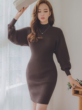 Ericdress High Neck Lantern Sleeves Thread Sweater Bodycon Dress