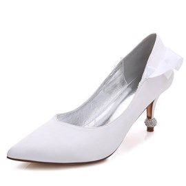 Ericdress Rhinestone Ruffles Slip-On Stiletto Heel Wedding Shoes