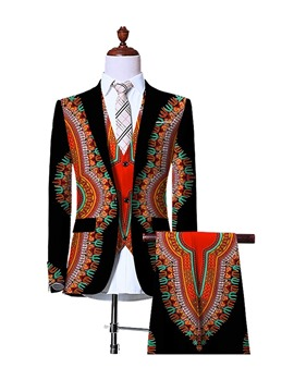 Ericdress Floral Print Ethnic Style Slim Men's Casual Suit