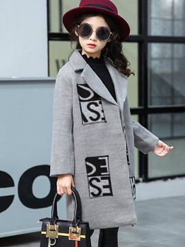 Ericdress Letter Print Notched Lapel Slim Girl's Overcoat