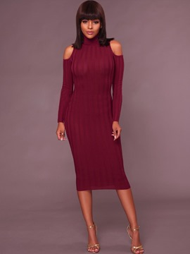 Ericdress High Neck Cold Shoulder Long Sleeves Plain Sweater Dress