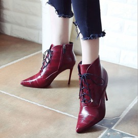 Ericdress Cross Strap Pointed Toe Plain Women's High Heel Boots