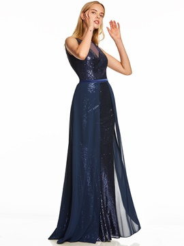 Ericdress Scoop Neck Sequins A Line Evening Dress