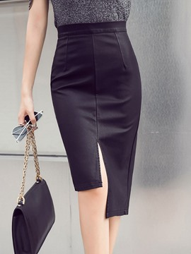 Ericdress High-Waist Asymmetrical PU Plain Women's Skirt