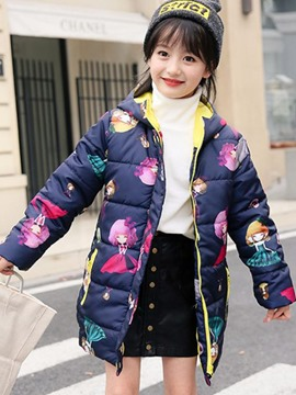 Ericdress Lovely Cartoon Girl Print Zipper Mid-Length Girl's Coat