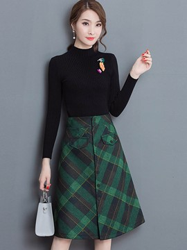 Ericdress High Neck Sweater and Plaid Skirt Women's Suit