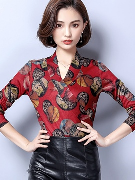 Ericdress Slim V-Neck Print Blouse