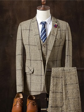 Ericdress Plain Three Pieces Plaid Vogue Slim Men's Suit