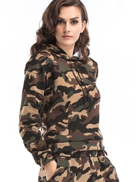 Ericdress Camouflage Print Fleece Cool Hoodie