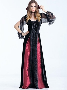 Ericdress Vampire Cosplay Halloween Costume Patchwork Maxi Dress