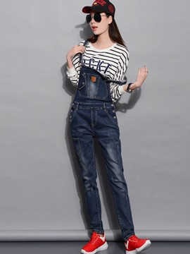 Ericdress Mid-Waist Loose Denim Women's Overalls