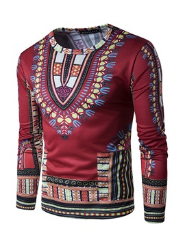 Ericdress Ethnic Style Print Round Neck Slim Men's T-Shirt