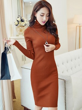 Ericdress High Neck Long Sleeves Plain Sweater Dress