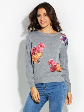 Ericdress Loose Applique Floral Knitwear