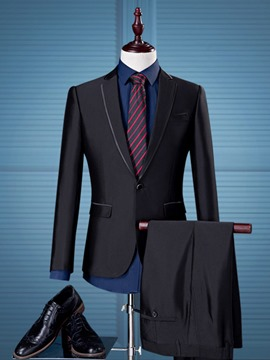 Ericdress Plain Notched Lapel Business Slim Men's Casual Suit