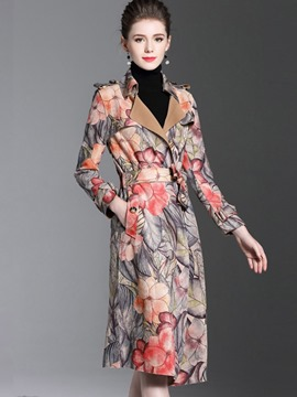 Ericdress Lapel Print Floral Mid-Length Trench Coat