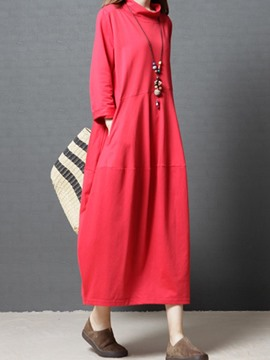 Ericdress Stand Collar Plain Pocket Casual Dress