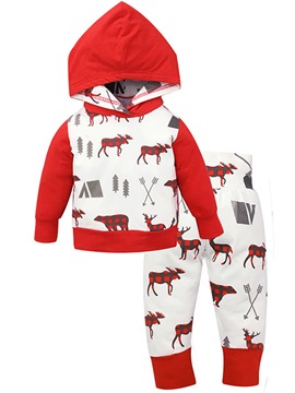Ericdress Deer Print Hooded Pullover Unisex Baby's 2-Pcs Outfits