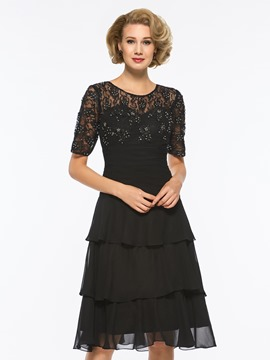 Ericdress Half Sleeve Beaded Knee Length Mother of The Bride Dress