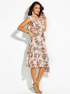 Ericdress Ruffle Collar Color Block Floral Pleated Maxi Dress