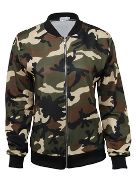 Ericdress Loose Camouflage Zipper Jacket