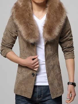 Ericdress Plain Detachable Faux Fur Collar Vogue Slim Men's Woolen Coat